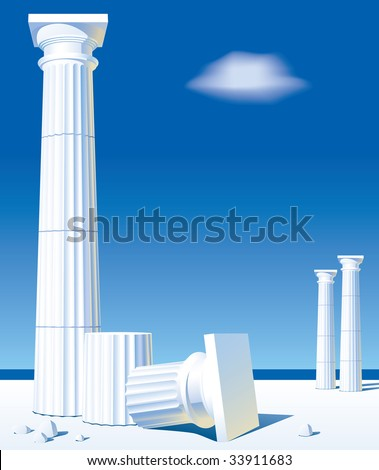 Vector image of classical antic columns on the shore