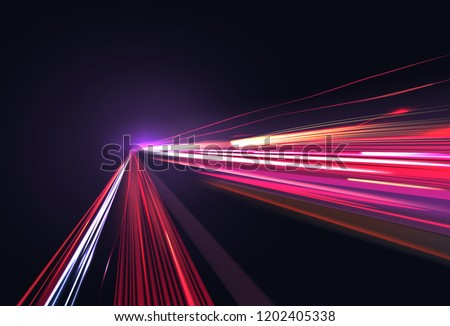 Vector image of colorful light trails with motion blur effect, long time exposure. Isolated on background