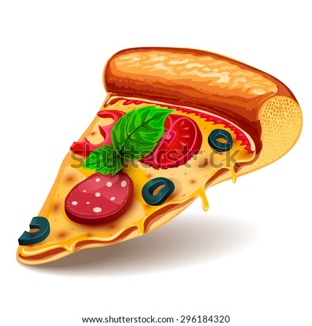 Vector image of creative pizzas meats. Icon Italian pizza. A slice of pizza for the design of advertising for your restaurant business.