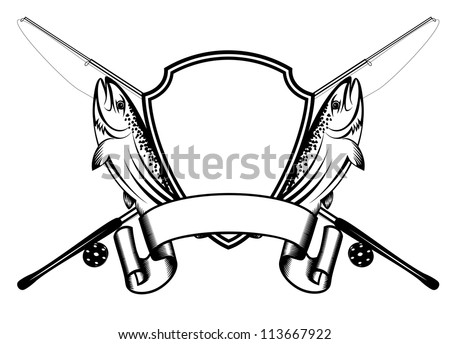 Vector image of crossed fishing tackles and fish trout