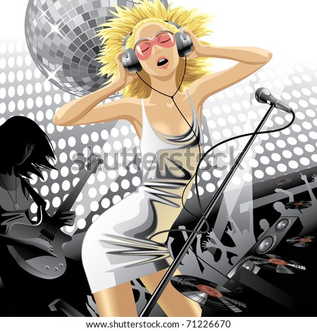Vector image of dancing beautiful blonde girl in metallic dress with head-phones and microphone at a party - stock vector