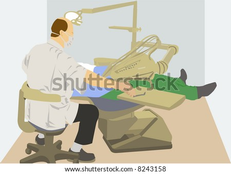 vector image of dentist at work