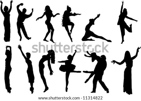 vector image of different isolated dancer