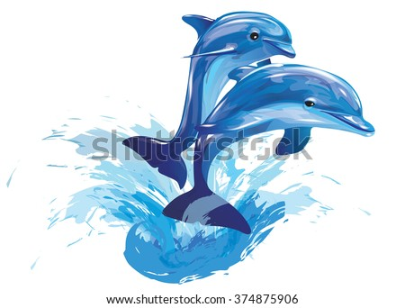 vector image of dolphins