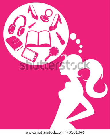 vector image of dreaming girl