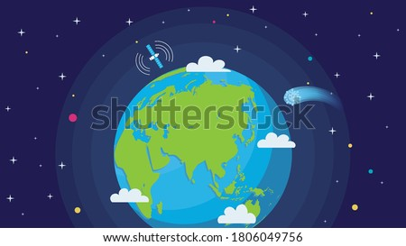vector image of earth in space