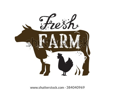 vector image of farm animal and