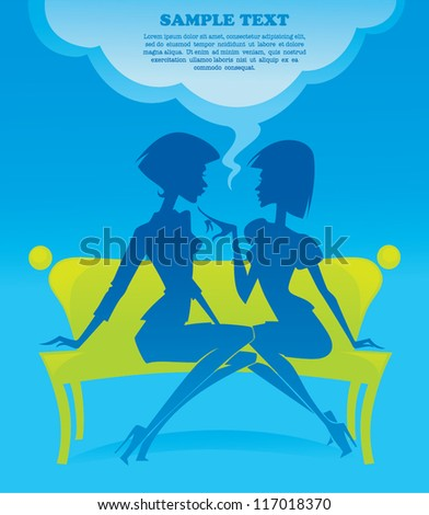 vector image of fashionable chatting girls silhouettes sitting on green bench