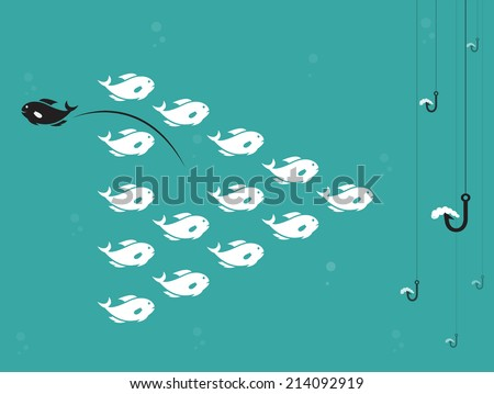 vector image of fish and hook
