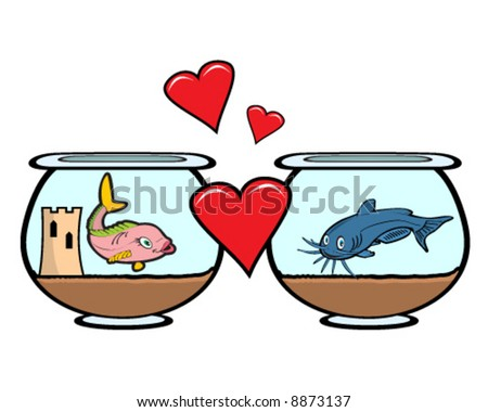 vector image of fish in love