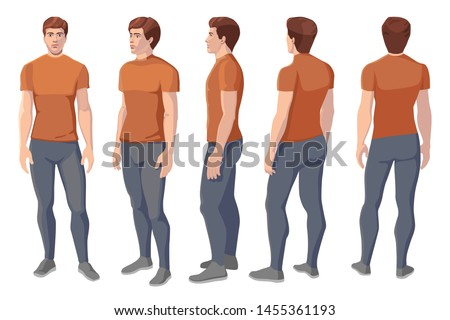 vector image of five corners and turns of a male figure, frontal feed, profile, three-quarter turn, back