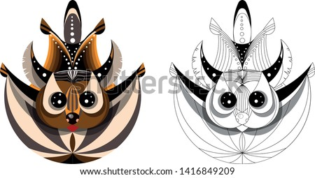 Vector image of flying squirrel in flight. Made with Fibonacci circles