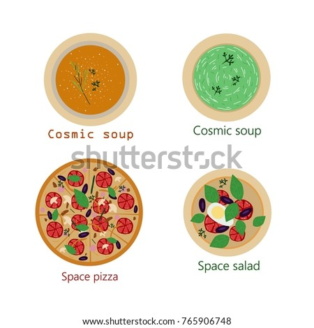 Vector image of food. Soup, salad, pizza.