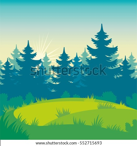 vector image of forest clearing
