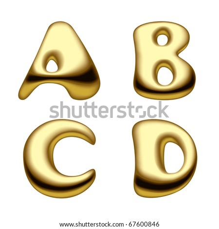 Vector image of gold alphabet capital letters