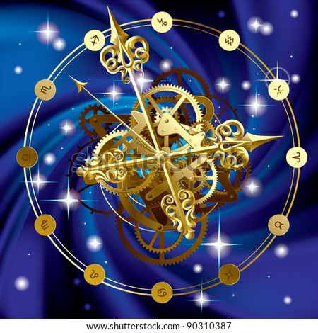 Vector image of gold round clock with decorative hour hands, cogwheels and zodiacal symbols on starry sky.