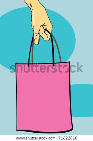 vector image of handbag in woman arm. may be use for retail