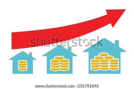 Vector image of houses with money from small to large size, with a red arrow above ストックフォト ©