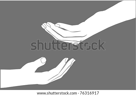 Vector image of human hands, one holds out something, isolated on gray background