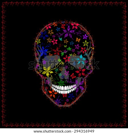 vector image of human skull and