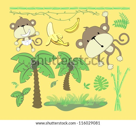 vector image of jungle theme, cartoon design elements set for baby and childs decoration