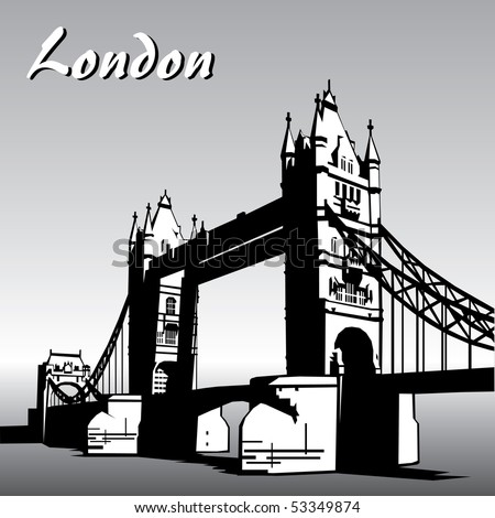 vector image of  london symbols. Famous London Bridge