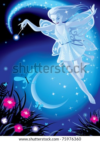 Stock Photo Vector image of luminous fairy girl on a blue night background with the moon and pink flowers