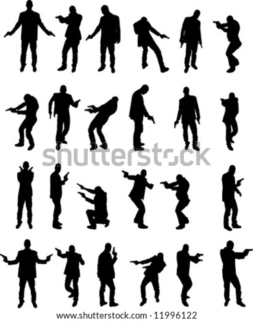 vector image of men with pistol
