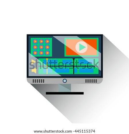 vector image of monitor with