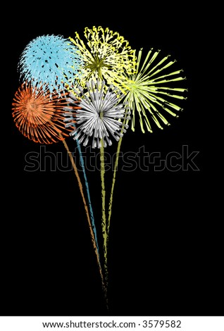Vector image of multi color fireworks