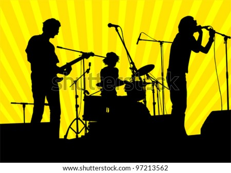 Vector image of musical group and audience