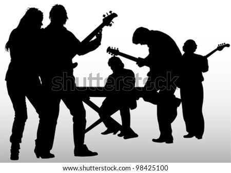 Vector image of musical rock group