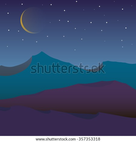 vector image of night in the