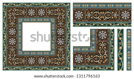 Vector image of Oriental ornament, border and frame. The border is used for various designs. Also for interior decoration and architecture or Ramadan holiday.