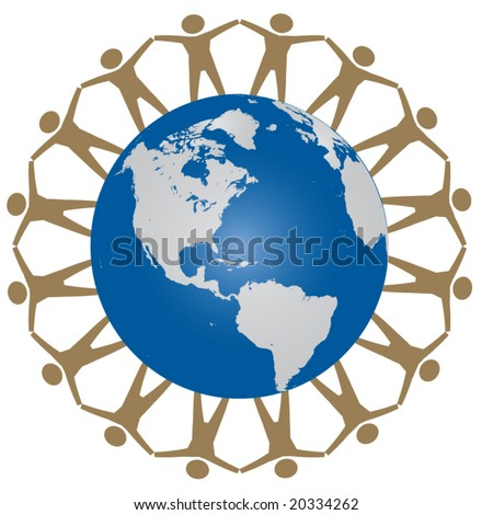 Vector image of people holding hands around globe. Use as concept for environment, unity,world peace