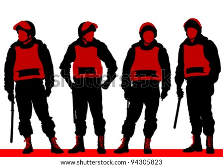 Vector image of police in form of protective