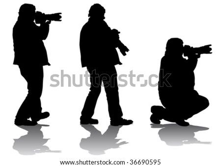 Vector image of professional photographers with equipment at work