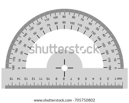 vector image of protractor, geometrical instrument