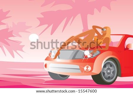 vector image of resting girl and red car