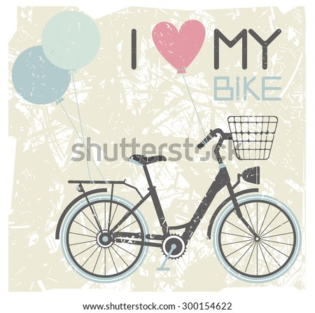 Vector image of retro bicycle with balloons.