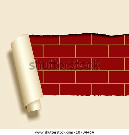 Vector image of ripped paper on a brick-wall - stock vector