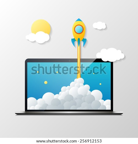 Vector image of rocket flying out of laptop. Start up concept