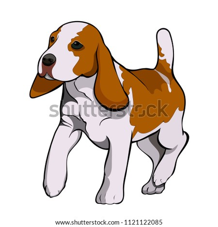 Vector image of running sad dog. The illustration is made on three layers: contour, light shadow, color. Light and shadows are made with the help of transparency