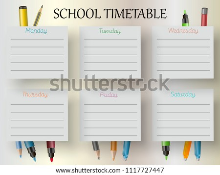 Vector image of school timetable, timetable for students. Bright, colorful, memorable