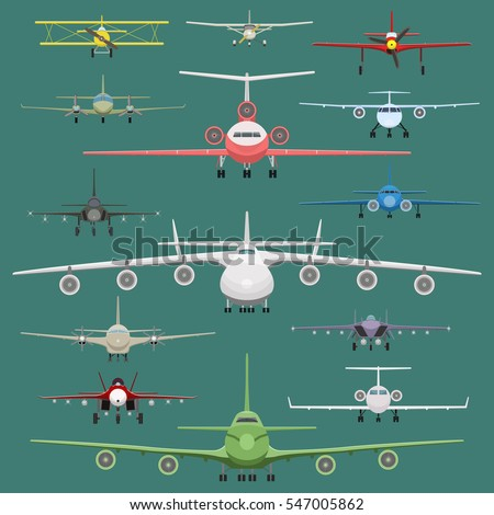 Vector image of set of airplanes in flat style. Front view.