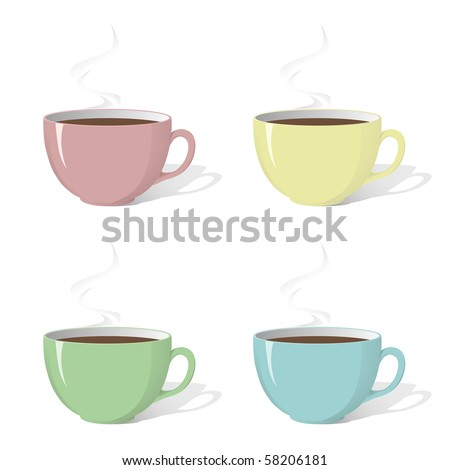 Vector image of set of cups