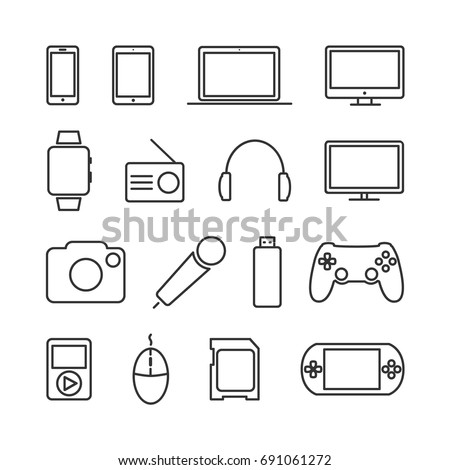 vector image of set of devices