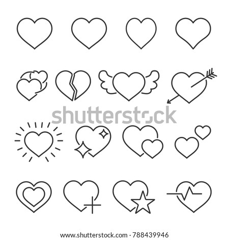 Vector image of set of hearts line icons.