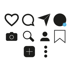 Vector image of set of Internet icons.