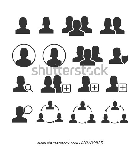 Vector image of set of users icons.